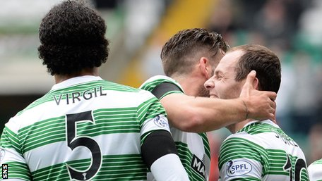 Anthony Stokes (right) celebrates against Caley Thistle