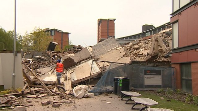 Tower block demolished