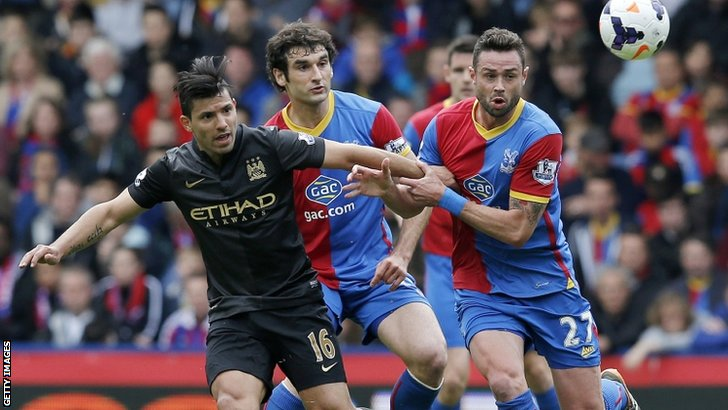Manchester City's Argentinian striker Sergio Aguero in action against