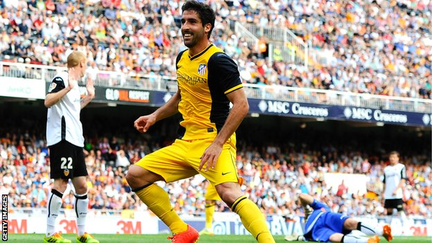 Raul Garcia scores for Atletico Madrid against Valencia
