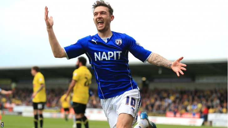 Jay O'Shea celebrates scoring the first goal