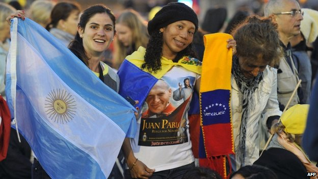 Argentine and Venezuelan pilgrims at the Vatican
