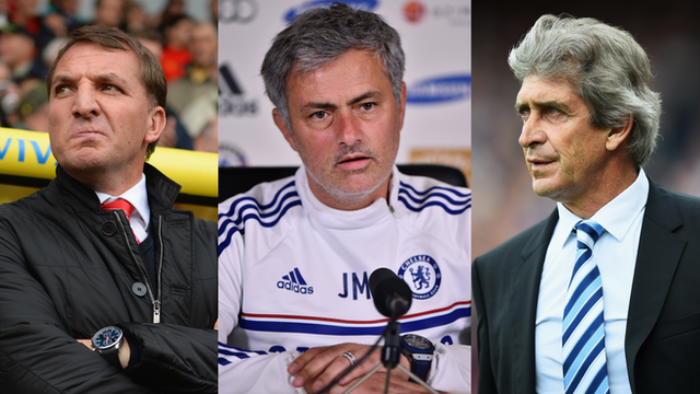 Liverpool's Brendan Rodgers, Chelsea's Jose Mourinho and Manchester City's Manuel Pellegrini.