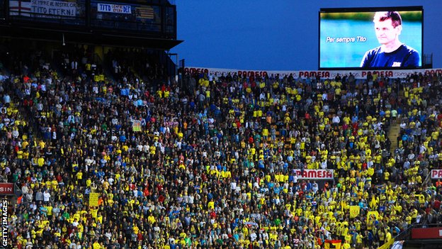 Villarreal player wore T-shirts before kick-off with the message 'Forever Tito', while there were many banners around their stadium paying tribute to the ex-Barcelona boss