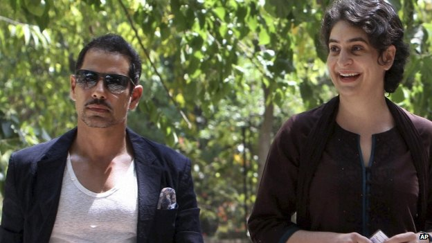 Priyanka Gandhi (right) and her husband Robert Vadra have rejected the BJP's allegations