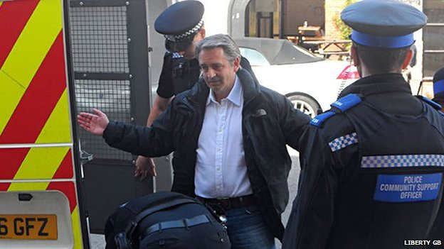 Paul Weston, chairman of the party Liberty GB, being arrested after making a speech quoting from a book by Winston Churchill about Islam in Winchester, Hampshire
