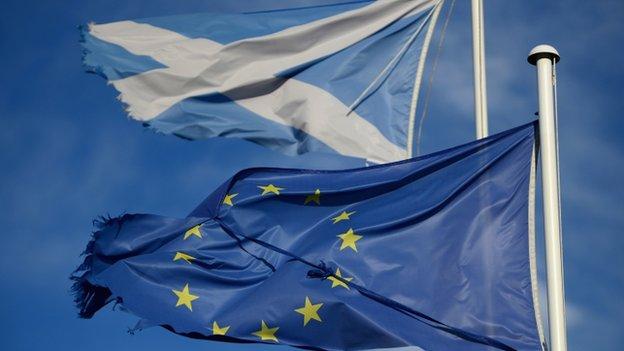 EU flag and Saltire