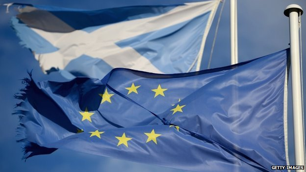 Saltire and EU flag