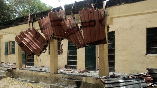 A damaged classroom at the school in Chibok in north-eastern Nigeria, where gunmen abducted children (21 April 2014)