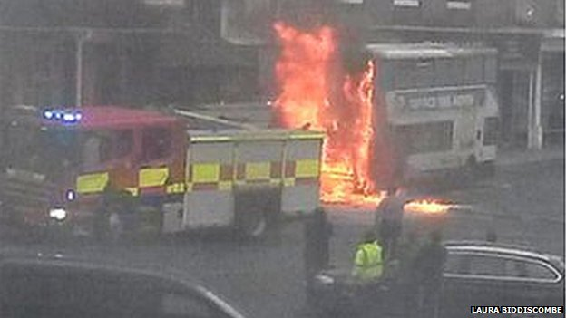 Bus fire on Marlborough High Street