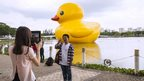 Residents in the newly developed town of Phu My Hung in Ho Chi Minh, Vietnam, stop to have their photograph taken in front of a giant rubber duck artwork by Dutch artist Florentijn Hofman- 28 April 2014.