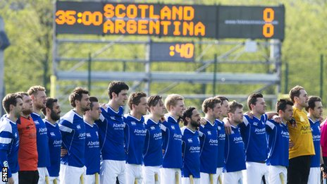 The Scotland players line up before the match against Argentina