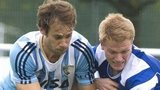 Scotland's Ian Moodie (right) battles with Facundo Callioni of Argentina