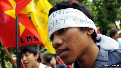 Fuel price protest in Indonesia