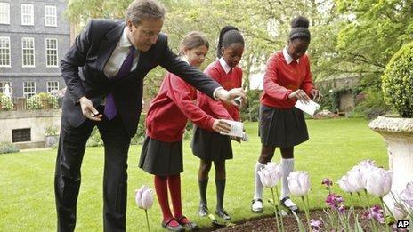 David Cameron and poppies