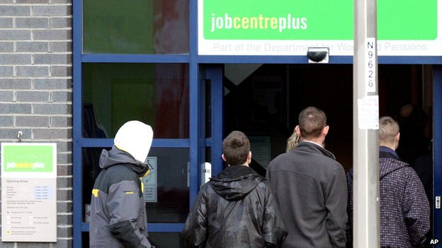 Claimants queuing outside job centre