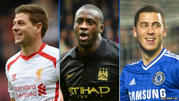 Steven Gerrard, Yaya Toure and Eden Hazard