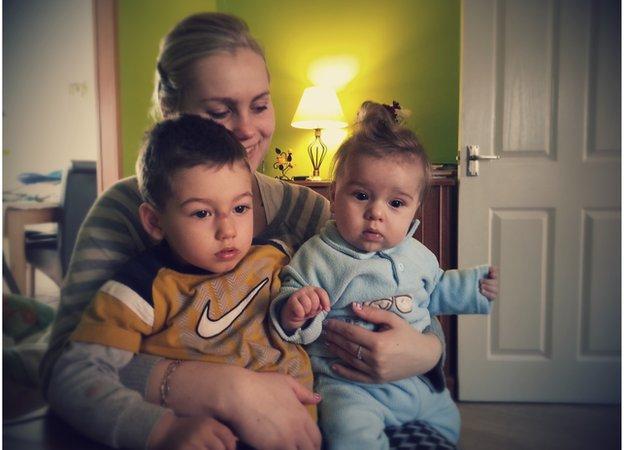 Wioletta Komar with sons Wiktor and Daniel