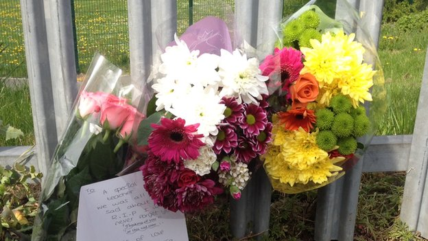 Floral tribute at school