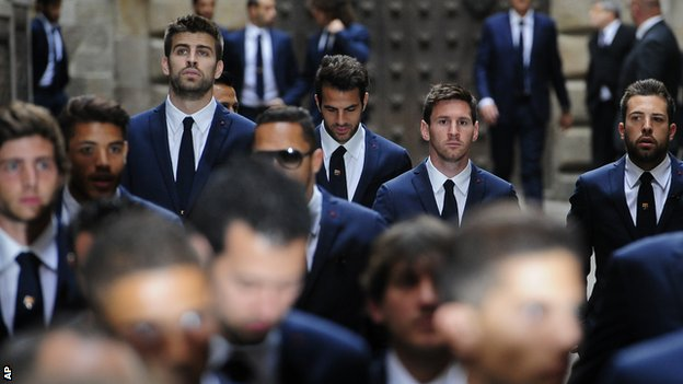 Gerard Pique, Cesc Fabregas, Lioel Messi and Jordi Alba