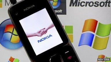 Nokia phone on tablet