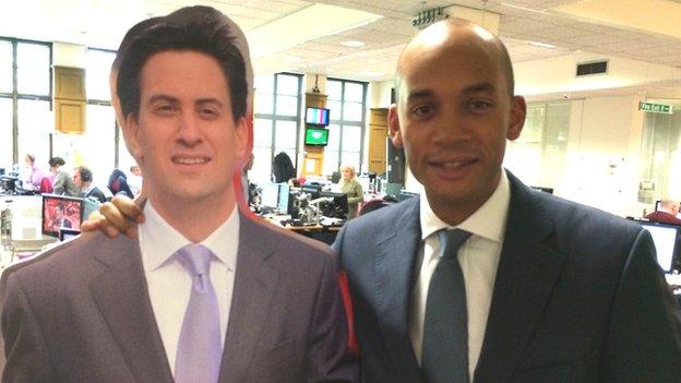 Cardboard Ed Miliband and Chuka Umunna
