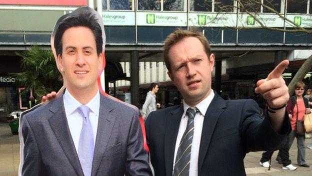 Cardboard Ed Miliband and Adam Fleming