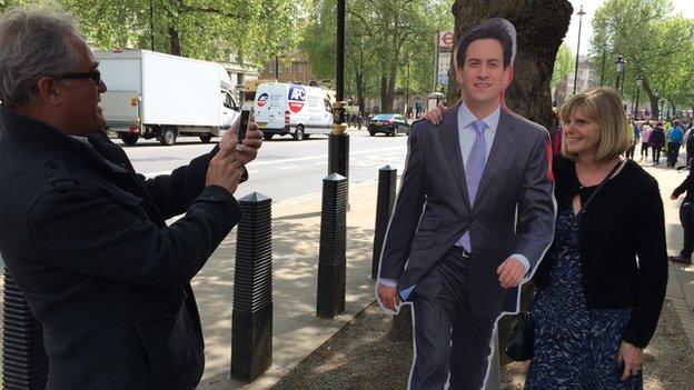 Cardboard Ed Miliband in Whitehall