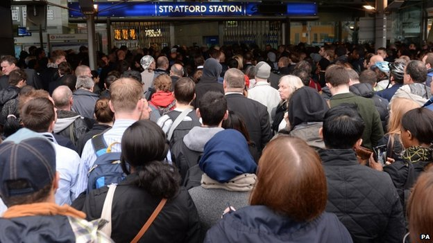 Queues outside Stratford Station