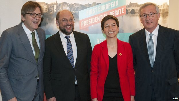 The four rival candidates - from left, G Verhofstadt, M Schulz; S Keller; J-C Juncker