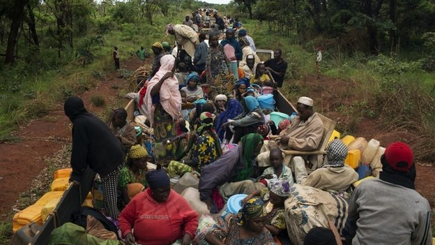 An African Union convoy escorts about 1,000 Muslims to northern Central African Republic (28 April 2014)