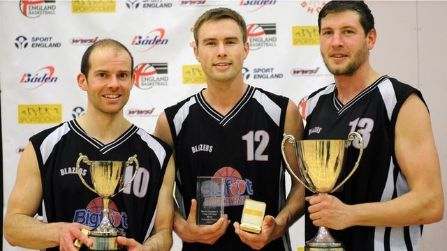 Trailblazers co-captain Simon Allaway (left) with the play-off trophy, Alex Dorr with MVP award and captain Sam O'Shea (right) with Division Two trophy