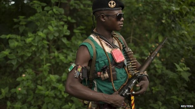 An anti-balaka fighter near the town of Yaloke in CAR on 25 April 2014