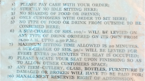 Sign in a Nairobi restaurant