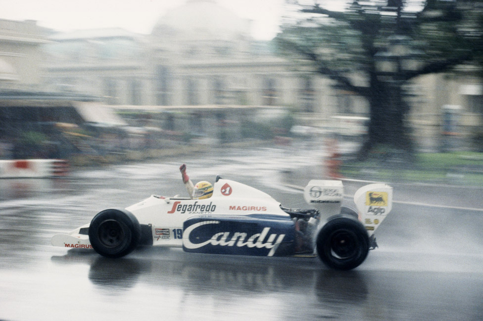 Ayrton Senna drives the Toleman-Hart TG184 in the rain to second place during the Grand Prix of Monaco, 3 June 1984
