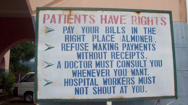 Sign at a hospital in Cameroon