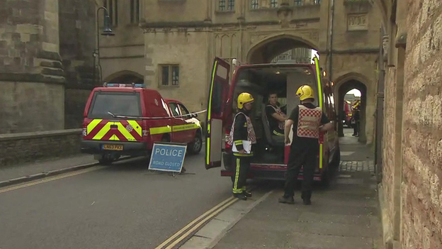 Emergency services outside cathedral