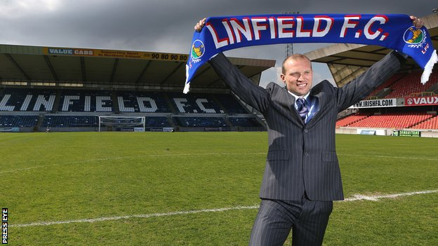 New Linfield manager Warren Feeney  at Windsor Park