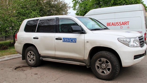 Car belonging to OSCE observers in Sloviansk