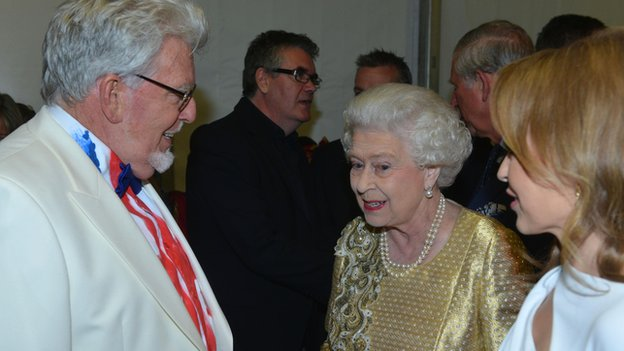 Rolf Harris with the Queen and Kylie Minogue at the Diamond Jubilee concert in June 2012