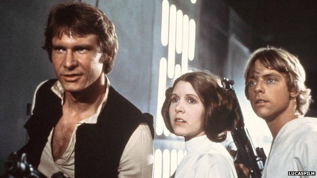 Harrison Ford, Carrie Fisher and Mark Hamill as Han Solo, Princess Leia and Luke Skywalker in Star Wars