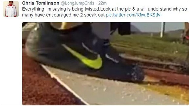 Chris Tomlinson's tweet of a still from video footage of Rutherford's record jump