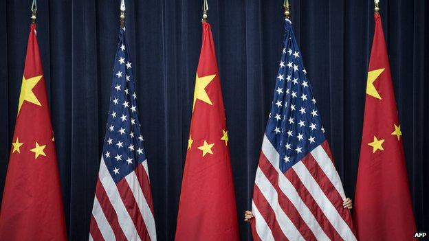 China US flags