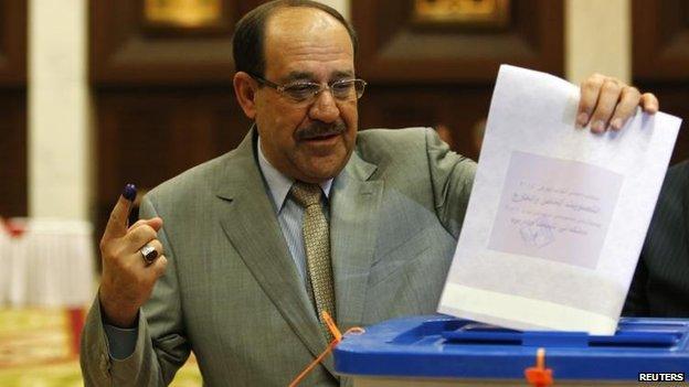 Prime Minister Nouri Maliki votes, 30 April