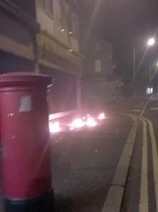Petrol bombs were thrown at the Alliance Party office in east Belfast at 23:00 BST on Tuesday