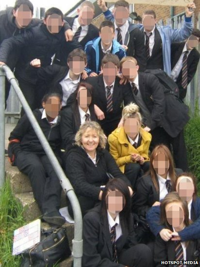Ann Maguire, with pupils from the college