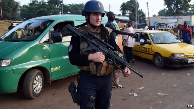 French gendarmes in Bangui on 29 April 2014