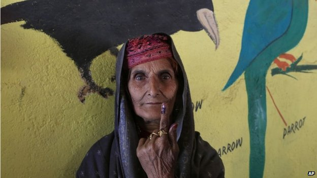 A Kashmiri woman from the nomadic Gujjar tribe after voting in Kashmir on Wednesday, April 30, 2014