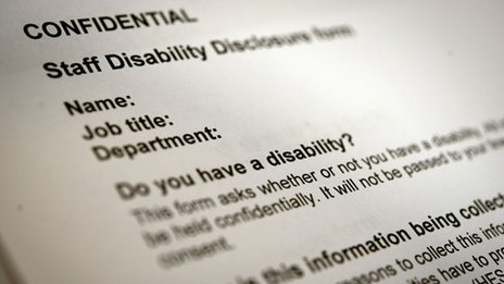 "A disability disclosure form, with the question: ""Do you have a disability?"""