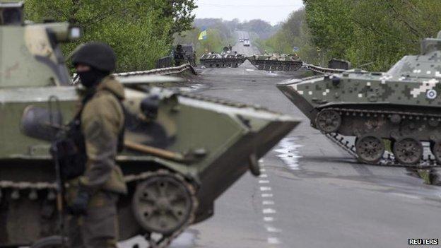 Ukrainian soldiers near Sloviansk, 29 April